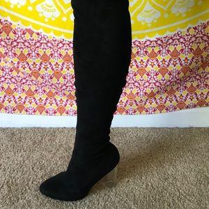 Suede Knee-High Clear Heel Boots